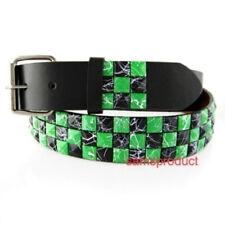 Pyramid Stud Snap On leather belt M 32-36 Black & Green Line