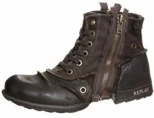 Replay Clutch Dark Brown Mens Side Zip Mid Ankle Leather Army Boots