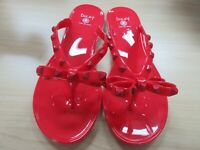 Dizzy Red Jelly Flip Flop Sandal With Studs Rivet Syle Size 6-10 New