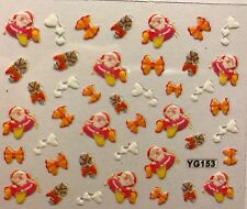 Nail Art 3D Decal Stickers Charistmas Santa in Airplane Hearts Candycane XF367