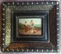 Tableau Ancien Etude Impressionniste Femmes Nourrisson Plage Huile signée XIXe