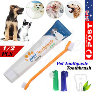 1/2 Pet Dog Cat Vanilla Flavour Cleaning Toothpaste+Toothbrush+Back Up Brush Set