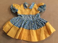 Doll Terri Lee Clothing Blue Floral Print with Yellow Dress tagged 1950s