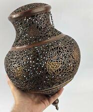 Islamic Antique Large Mosque Lamp - Copper Openwork Superb Kashmir / Afghanistan