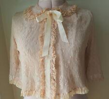Vintage Lace Evening Jacket  Peach Silk Satin Ribbon - Antique Cape Beading