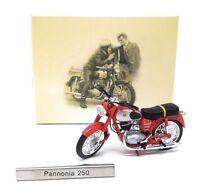 Model Motorcycle 1/24 hungarian Pannonia 250 red. Hungary Motorbike. Atlas