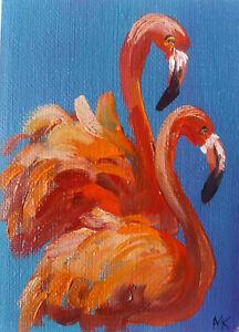 ACEO  Flamingo Original Oil painting Miniature Art 2.5x3.5in artist MK