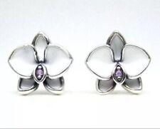 Authentic PANDORA WHITE ORCHID Earrings W/ Pandora TAG & HINGED BOX #290749EN12
