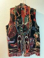Vintage cotton tapestry fringed western style vest one size cowboy boots theme
