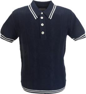 Ska & Soul Mens Navy Blue Stripe Knitted Pointelle Polo Shirt