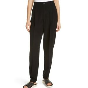 NWT VINCE $345 Tapered Pleat Front Trouser High Waisted Black Size 6