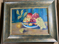 "Vintage J.F.K ""Still Life With Fruits Scene"" Oil Painting - Signed And Framed"