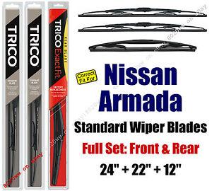 Wiper Blades 3pk Front Rear - fit 2005-2015 Nissan Armada - 30240/221/12B