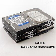 "Lot of 6 SATA HARD DRIVE 160GB 7200RPM 3.5"" for Desktop,Western/HITACHI/Seagate"