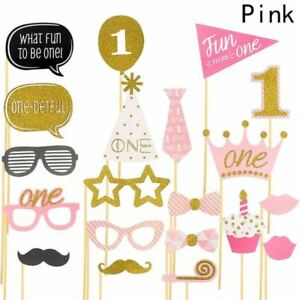 20X Girl 1st Birthday Photo Booth Props Pink Baby Show First Party Decoration