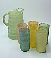 Vintage MCM Color Craft Spaghetti String Rubber Coated Pitcher w/ 6 Tumblers Set