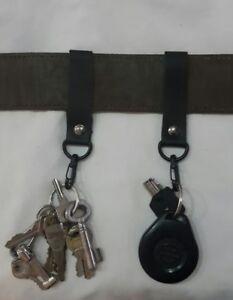 2x harley fob leather black gunmetal keyring keychain belt loop #107