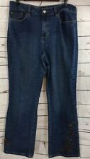 Coldwater Creek Womens Size 16 Blue Jeans Beaded Embroidered -F2