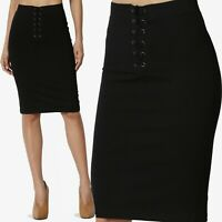 TheMogan Lace Up Elastic High Waist Ponte Knit Knee Length Pencil Midi Skirt
