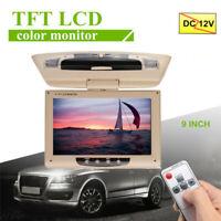 9'' Screen Flip Down Roof Mount AV Monitor Overhead TFT LCD Car DVD Display  UK