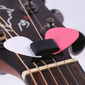 Black Rubber Guitar Pick Holder Fix On Headstock