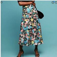 Anthropologie Maeve Florence Bias Floral Midi Skirt in Black Womens Size XS