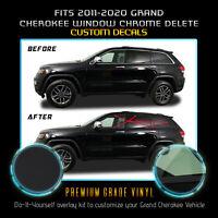 Fit 11-20 Grand Cherokee Window Trim Chrome Delete Blackout Kit - Matte Black