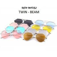 OCCHIALI DA SOLE TWIN-BEAMS VINTAGE METAL SUNGLASSES MIRROR UOMO DONNA