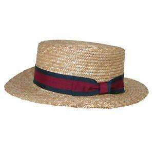 New CTM Straw 2 Inch Brim Boater Hat with Navy Band