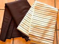 1980's Solid Brown Twill & Creme Brown Stripe Linen Fabric Lot