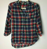 Market & Spruce Stitch Fix Women's Top Size Small 3/4 Sleeves Plaid Navy Blue