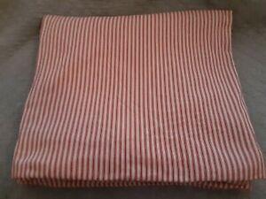 Pottery Barn RED TICKING Stripe Cotton Duvet Cover ~ FULL/QUEEN