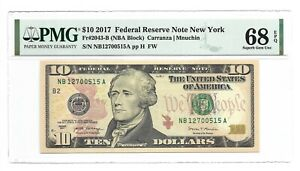 2017 $10 NEW YORK FRN, PMG SUPERB GEM UNCIRCULATED 68 EPQ BANKNOTE, 1st of 2