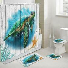 Sea Turtle on Rustic Wood Plank Fabric Shower Curtain Toilet Cover Rugs Mat Set