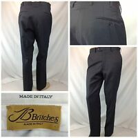 JB Britches Pants 34x31 Gray Plaid 100% Wool Flat Front Made In Italy F5807 YGI