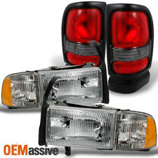 94-02 Dodge Ram Headlights Sets + Red Clear Tail Lights Combo Replacement Set
