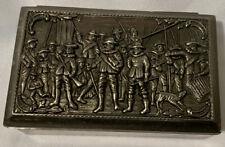 Silver Jewelry Trinket Vanity Casket Keepsake Box Raised Relief Colonial Men VTG