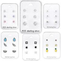 925 Sterling Silver Studs Earrings Set Unicorn Feather Pearl Pineapple Flower