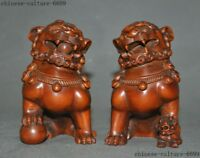 old Chinese Boxwood wood Hand-carved Foo dog lion Door guard Keeper statue Pair