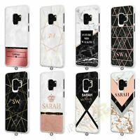 For Samsung Galaxy Personalised Marble Phone Case Cover Initial Text Name 071