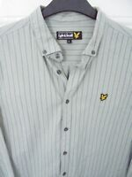 LYLE & SCOTT Retro Style Button Down (L) Grey Stripe Cotton Shirt Pit to Pit 21""