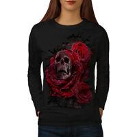 Wellcoda Rose Flower Metal Womens Long Sleeve T-shirt, Concert Casual Design