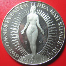 1960 GERMANY ARGENTEUS 3 DUCAT 1.43oz SILVER PROOF RADIANT NUDE FEMALE 50mm RARE