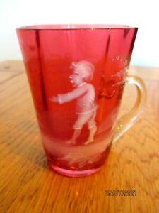 Mary Gregory Victorian Cranbeery Glass mug.