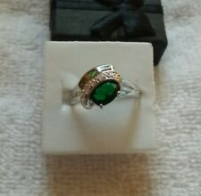 Artisan's  Sz 9 Emerald & Fire Opal & Cz's  Ring Sterling silver $55.00 New