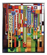 FRANK LLOYD WRIGHT SAGUARO FORMS CACTUS FLOWERS STAINED ART GLASS HANGING PANEL