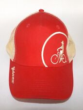 Yolo Bike Co. Embroidered Adjustable Baseball Trucker Cap/Hat Red with Tan Mesh