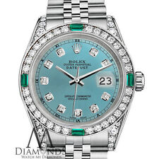 Ladies Rolex Datejust 31mm Stainless Steel Ice Blue Color Emerald Diamond Watch