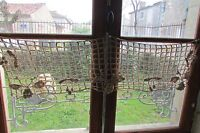 Antique French hand crafted grapes cherries crochet curtain shelf trim c1920s