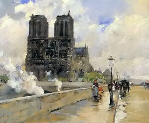 Oil painting childe hassam - notre dame cathedral paris great cityscape canvas